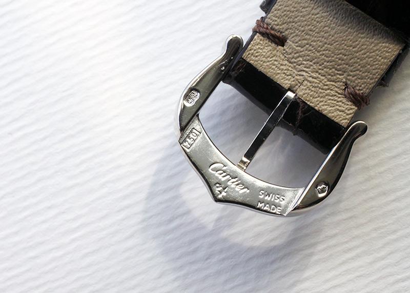 【中古】カルティエ W2601956 レディース タンクアメリカン SM WG シルバー文字盤 クォーツ レザー