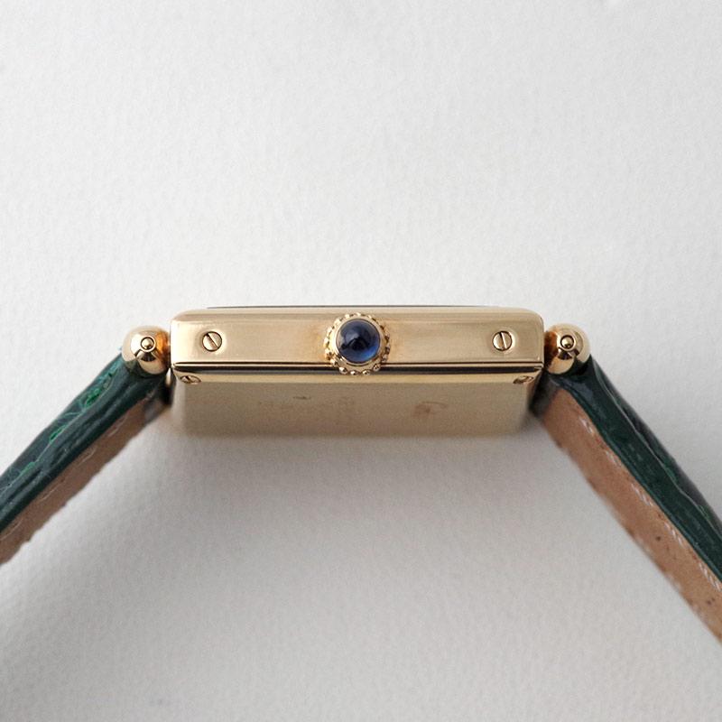 【中古】 カルティエ W1512256 タンクオビュ MM YG アイボリー文字盤 クォーツ レザー
