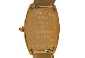 【日本未発売モデル】 フランクミュラー 1752QZ RELIEF レディース トノーカーベックス レリーフ PG シルバー文字盤 クォーツ レザー