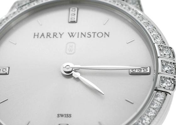 ハリーウィンストン MIDQHM32WW002 レディース ミッドナイト ダイヤモンドベゼル WG シルバー文字盤 クォーツ レザー