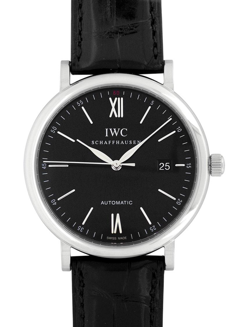 IWC IW356502 ポートフィノ SS 黒文字盤 自動巻き レザー