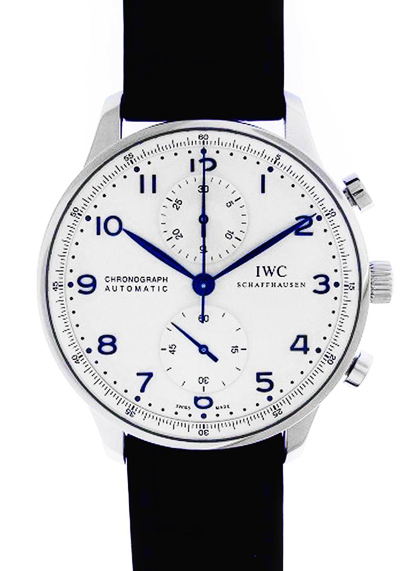 【中古】IWC IW371446 ポルトギーゼ クロノグラフ SS シルバー文字盤 自動巻き レザー