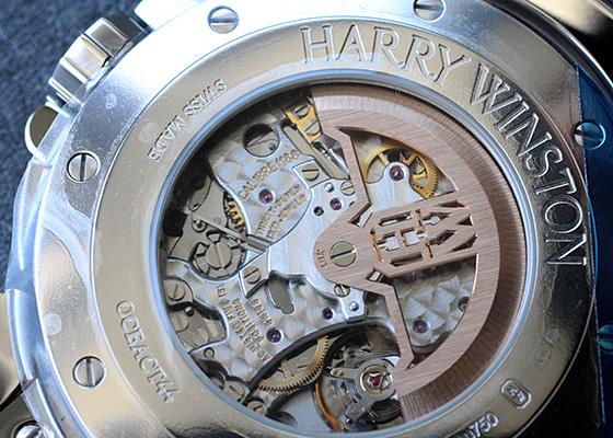 ハリーウィンストン OCEACT44WW002 オーシャン スリーレトログラード クロノグラフ ダイヤモンドケース WG シェル文字盤 自動巻き レザー