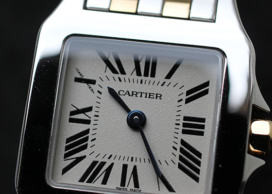 【未使用品】カルティエ W25066Z6 レディース サントス ドゥモワゼル SM YG&SS 白文字盤 クォーツ ブレスレット