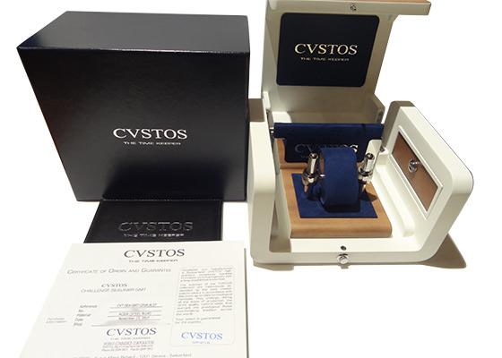 【中古】クストス CVT-SEA-GMT-CP5N BLST チャレンジ シーライナー GMT ブルーPVD/RG スケルトン文字盤 自動巻き ラバー