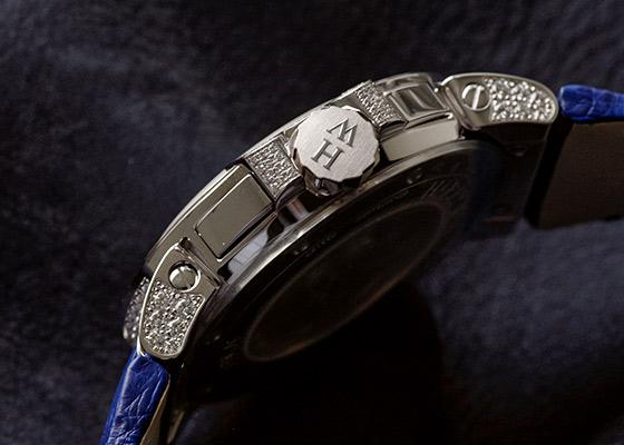 【中古】ハリーウィンストン OCEACT44WW002 オーシャン トリレトロ クロノグラフ ダイヤモンドケース WG シェル/ダイヤ文字盤 自動巻き レザー