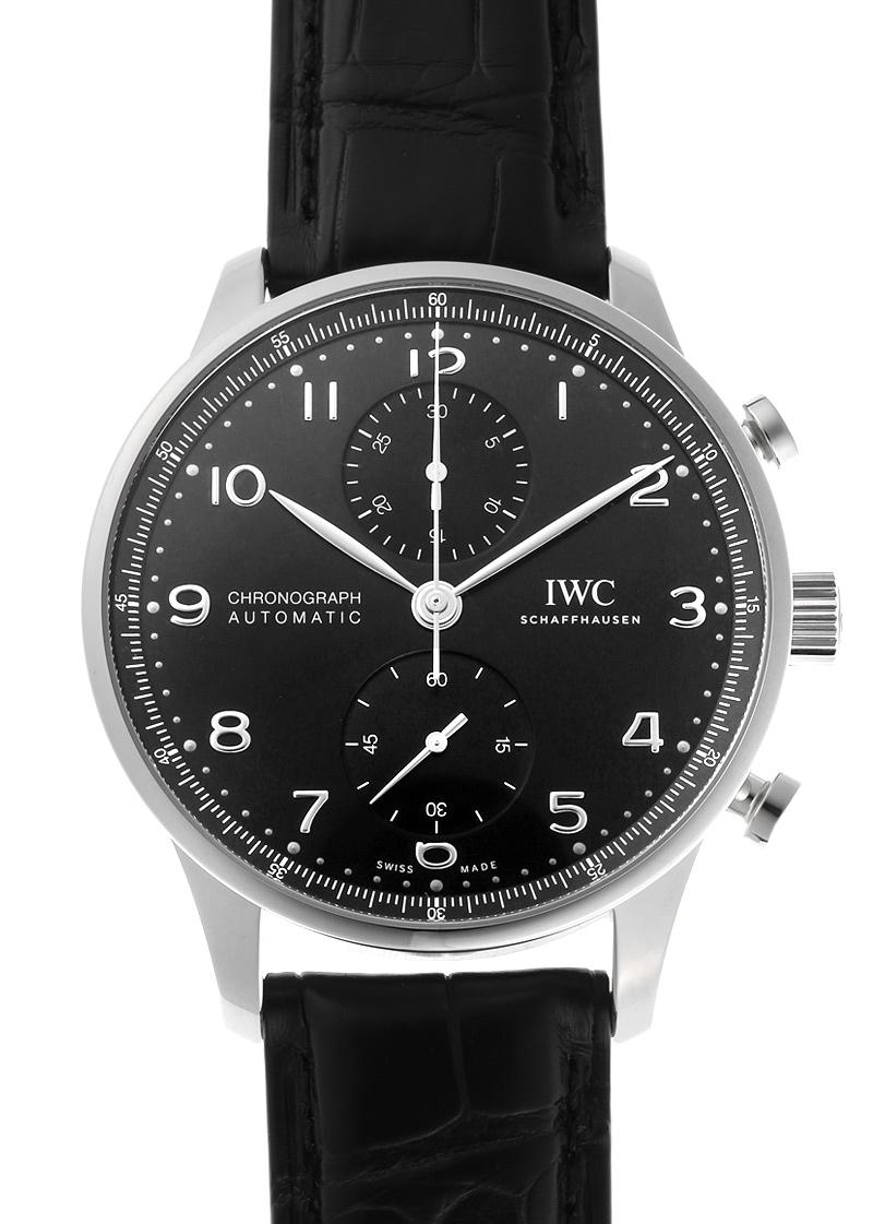 【未使用品】IWC IW371609 ポルトギーゼ クロノグラフ SS 黒文字盤 自動巻き レザー