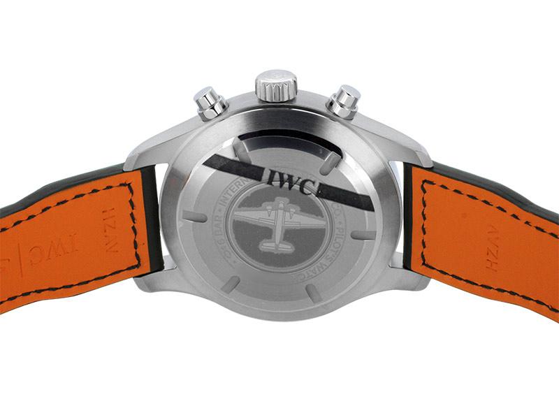 IWC IW377709 パイロット ウォッチ クロノグラフ マークXVIII SS 黒文字盤 自動巻き レザー