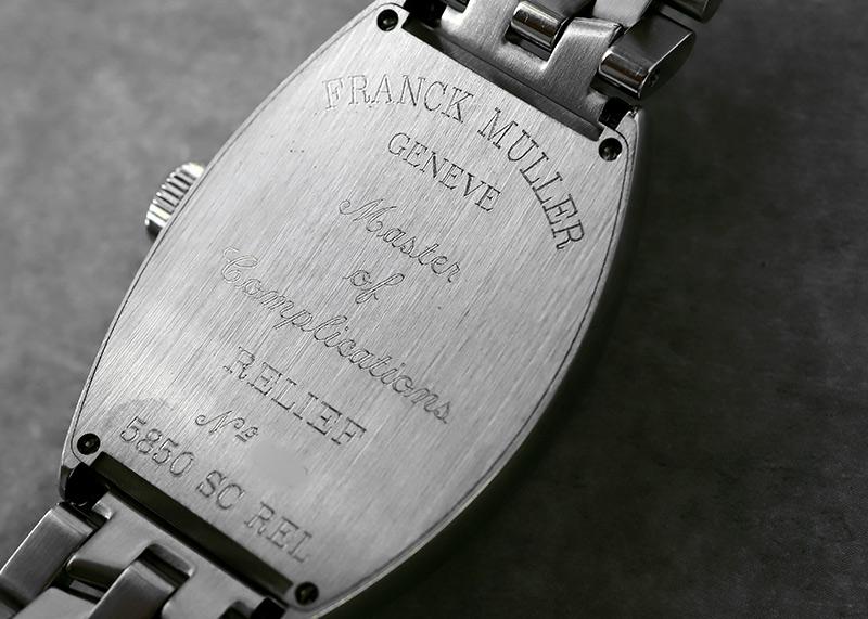 【中古】フランクミュラー 5850SC REL トノーカーベックス レリーフ SS 黒文字盤 自動巻き ブレスレット