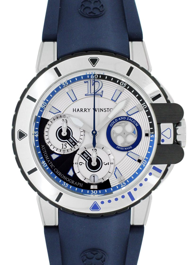 ハリーウィンストン OCEACH44WZ006 オーシャン ダイバー ザリウム&WG ブルー&シルバー文字盤 自動巻き ラバー