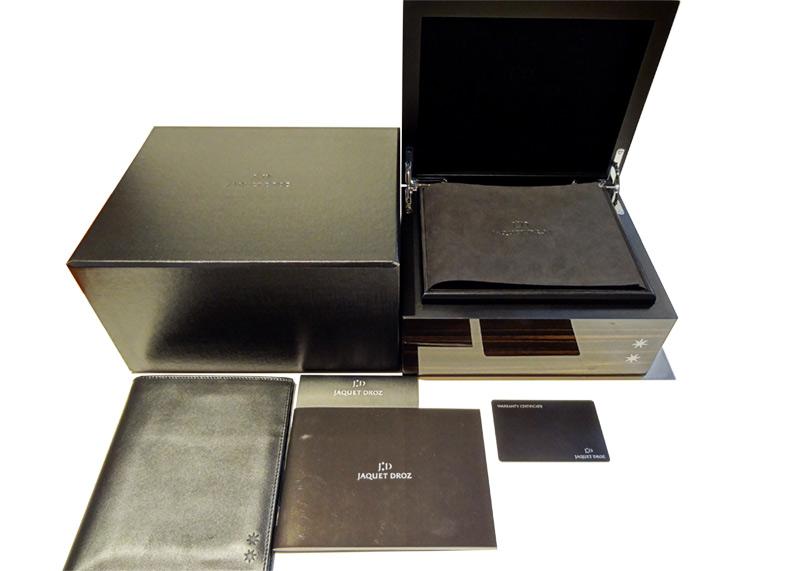 【中古】ジャケドロー J029030440 グラン セコンド SW SS/CE 黒文字盤 自動巻き ラバー
