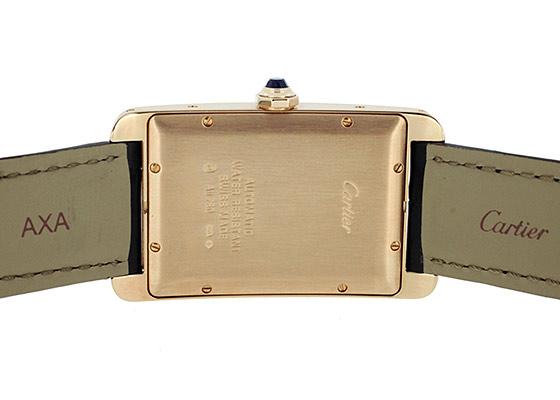 【中古】カルティエ W2609156 タンクアメリカン LM PG シルバー文字盤 自動巻き レザー