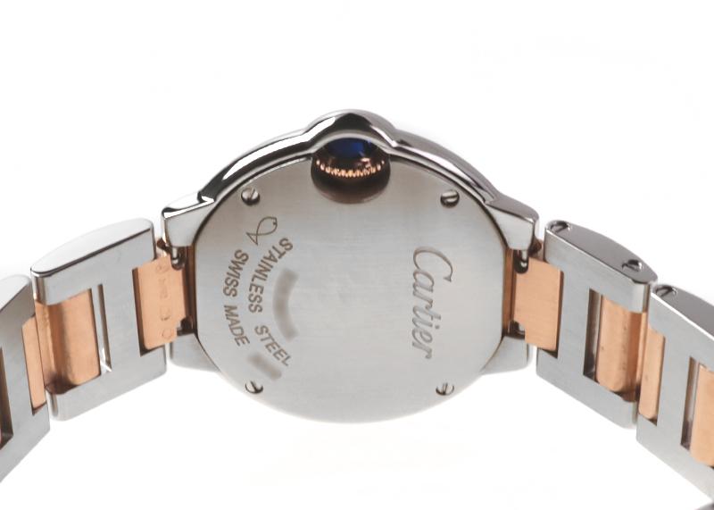【中古】カルティエ WE902052 バロンブルー SM PG&SS ピンク文字盤 クォーツ ブレスレット
