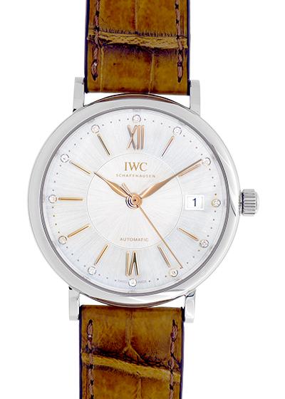 IWC IW458101 ポートフィノ オートマティック37 SS シルバー文字盤 自動巻き レザー