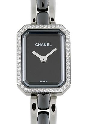 シャネル H2163 レディース プルミエール ダイヤモンドベゼル SS 黒文字盤 クォーツ SS&黒セラミック ブレスレット