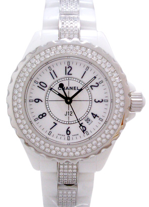 シャネル H1420 レディース J12 33mm ダイヤモンドベゼル ホワイトセラミック ホワイト クォーツ ダイヤモンドブレスレット