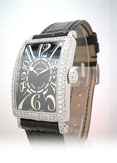 フランクミュラー 902QZD レディース ロングアイランド ダイヤモンドベゼル 18Kホワイトゴールド ブラック クォーツ レザー