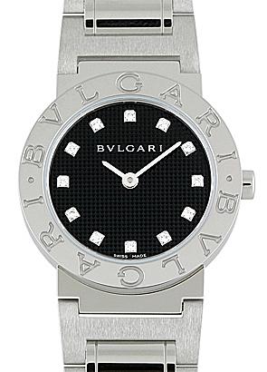 ブルガリ BB26BSS/12N レディース ブルガリブルガリ26mm SS 黒文字盤/12Pダイヤモンド クォーツ ブレスレット