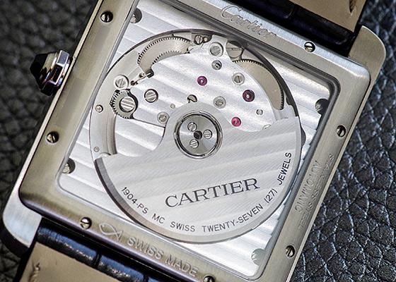 【中古】カルティエ W5330003 タンクMC SS シルバー文字盤 自動巻き レザー