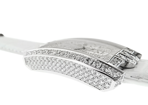【中古】ハリーウィンストン AVCACH32WW008  アヴェニューC クロノグラフ ダイヤモンドケース WG 全面ダイヤ文字盤 自動巻き レザー