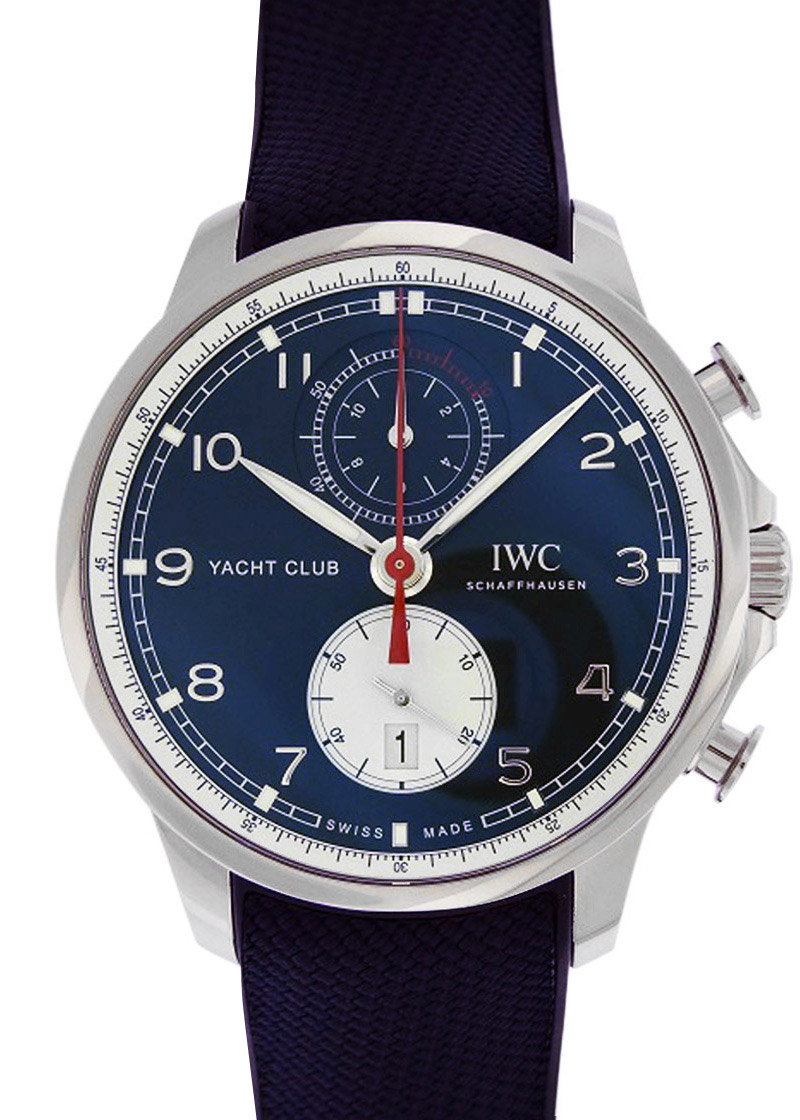 "IWC IW390704 ポルトギーゼ ヨットクラブ クロノグラフ  ""オールバー・ブラウン"" SS ブルー文字盤 自動巻き ラバー"