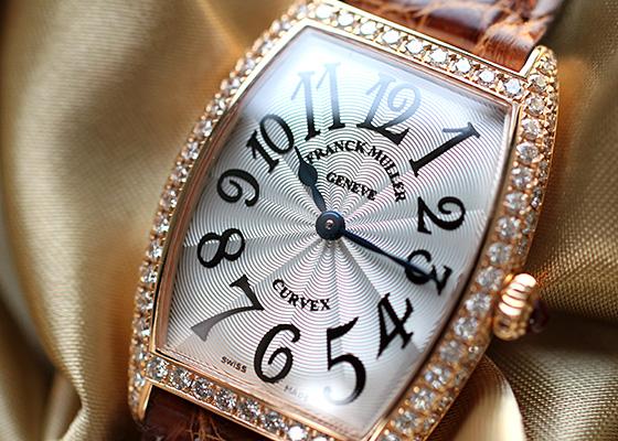 フランクミュラー 1752QZD レディース トノーカーベックス 二重ダイヤモンド PG シルバー文字盤 クォーツ レザー