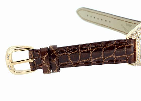 フランクミュラー 1752QZD REL レディース トノーカーベックス レリーフ 二重ダイヤモンド PG シルバー文字盤 クォーツ レザー