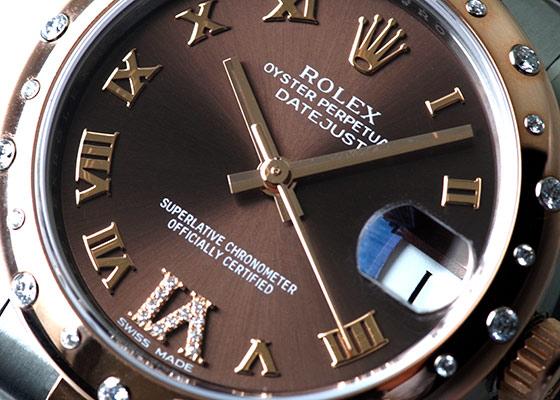 ロレックス 178341 レディース オイスターパーペチュアル デイトジャスト ダイヤモンドベゼル PG&SS ブラウン文字盤 自動巻き ブレスレット