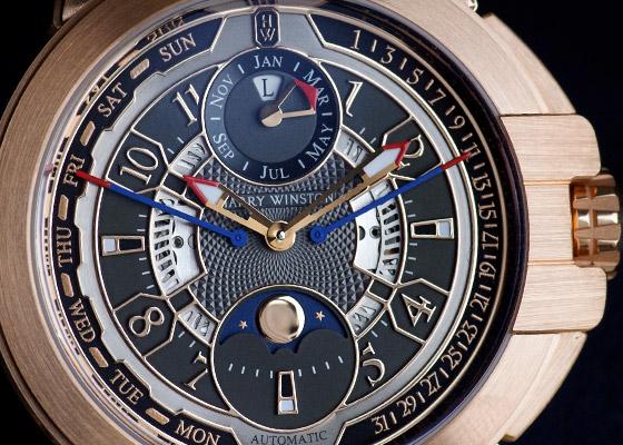 ハリーウィンストン OCEAPC42RR001 オーシャン バイレトログラード パーペチュアルカレンダー オートマティック RG グレー文字  盤 自動巻き レザー