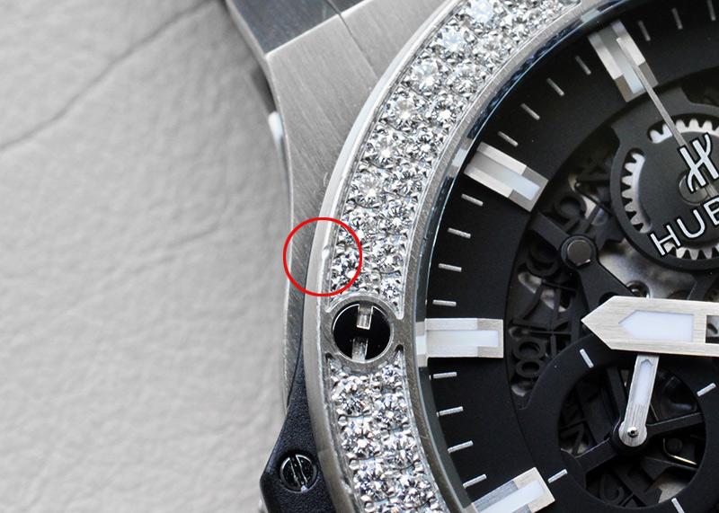【正規中古】ウブロ 311.SX.1170.GR.1104 アエロバン スチールダイヤモンド SS スケルトン文字盤 自動巻き ラバーアリゲーター