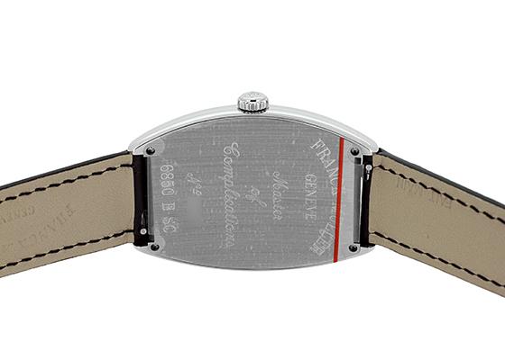 フランクミュラー 6850SC トノーカーベックス SS シルバー文字盤 自動巻き レザー(艶あり)