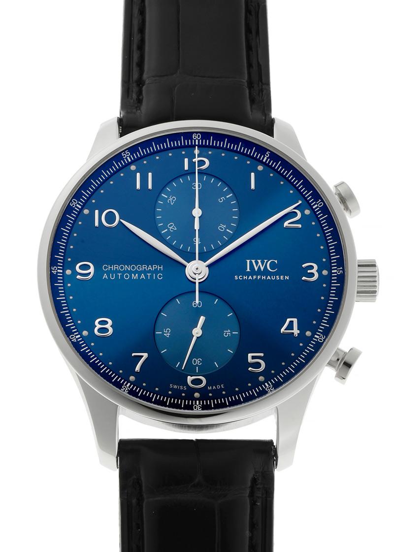 IWC IW371606 ポルトギーゼ クロノグラフ SS ブルー文字盤 自動巻き レザー