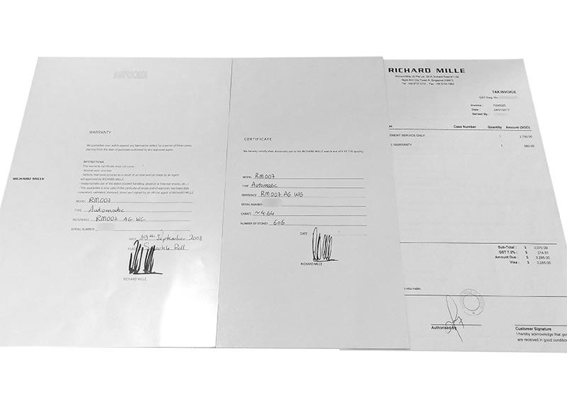 【中古】リシャールミル RM007 レディース オートマティック ケースダイヤモンド WG シェル文字盤 自動巻き ラバー【委託品】