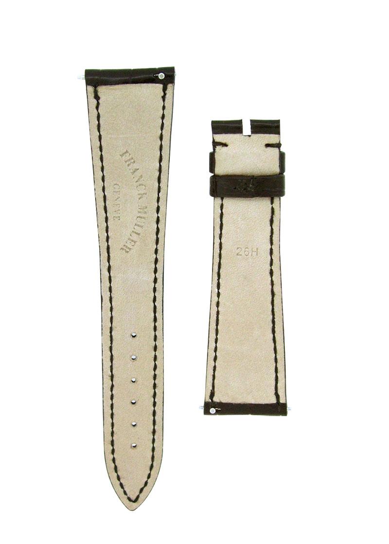 フランクミュラー レザーストラップ コンキスタドール 10000L用 クロコダイル ブラック(艶無) 21-16mm