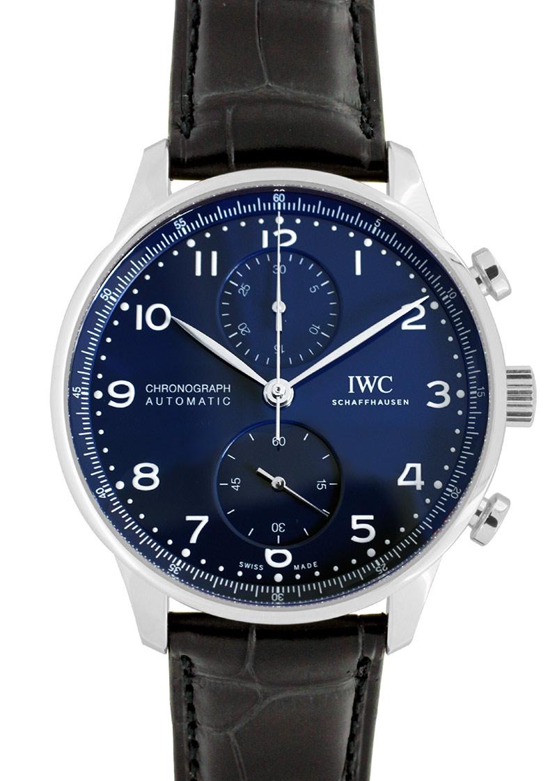 【正規未使用品】IWC IW371601 ポルトギーゼ クロノグラフ 150イヤーズ SS ブルー文字盤 自動巻き レザー