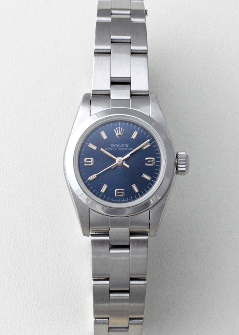 【1996年製】ROLEX 67180 レディス オイスターパーペチュアル SS ブルー文字盤 自動巻き ブレスレット