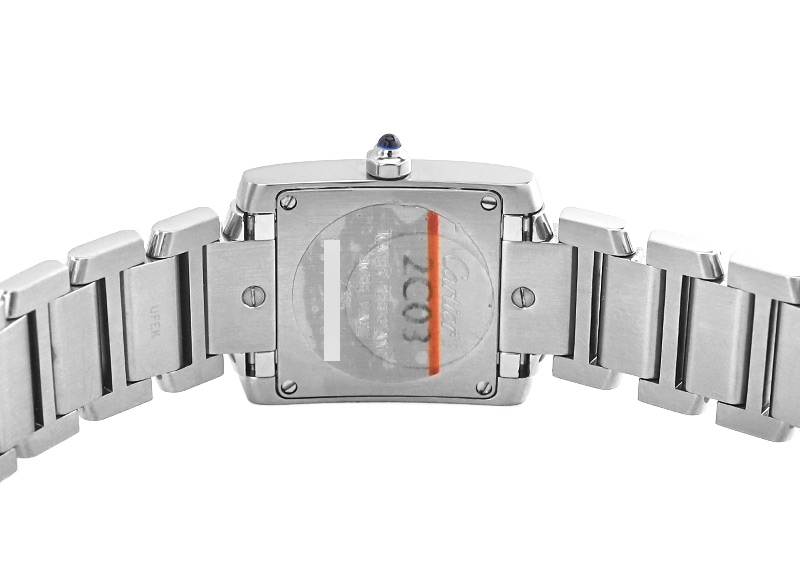 【中古】カルティエ W51008Q3 タンクフランセーズ SM SS 白文字盤 クォーツ ブレスレット
