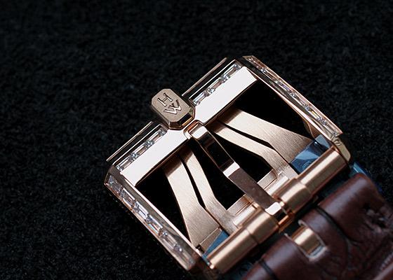 【世界限定20本】ハリーウィンストン OCEABI42RR002 オーシャン バイレトログラード オートマティック 42mm バゲットダイヤケース RG スケルトン文字盤 自動巻き レザー