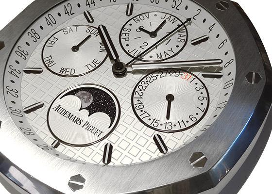 【未使用品】オーデマピゲ ロイヤルオーク パーペチュアルカレンダー ウォールクロック SS 白文字盤 クォーツ 壁かけ時計