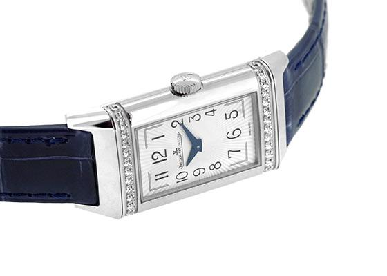 ジャガールクルト Q3348420 レベルソ・ワン・デュエット SS シルバー/ブルー文字盤 手巻き レザー