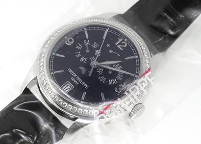 パテックフィリップ 5147G-001 アニュアルカレンダー ベゼルダイヤモンド WG ネイビーブルー文字盤 自動巻き レザー