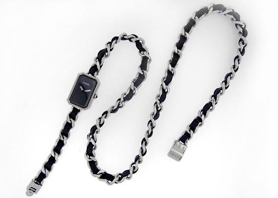 シャネル H3749 レディース プルミエール トリプルブレスレット Mサイズ SS 黒文字盤 クォーツ ブレスレット