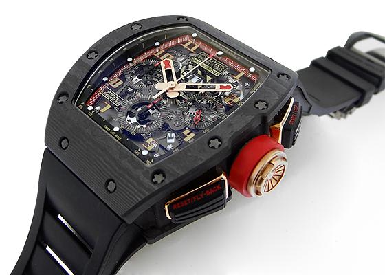 リシャール ミル RM011 オートマティック フライバック クロノグラフ ロータス F1チーム ロマン・グロージャン カーボン スケルトン文字盤 自動巻き ラバー