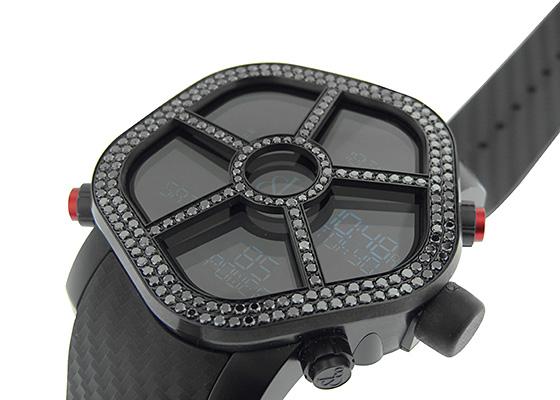 ジェイコブ JC-GST-BKD2.9 デジタル ファイブタイムゾーン ゴースト ブラックダイヤモンド(2.9カラット)SS(PVD) 黒文字盤 クォーツ ラバー