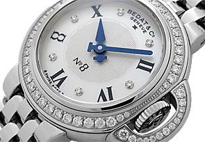 ベダ&カンパニー 827.041.909 レディース No.8 ダイヤモンドベゼル SS 白シェル文字盤/6Pダイヤモンド クォーツ ブレスレット