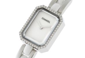 シャネル H2132 レディース プルミエール ダイヤモンドベゼル SS 白文字盤 クォーツ SS&白セラミックブレスレット