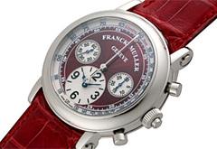 フランクミュラー 7002CC ラウンド スプリットセコンド ダブルフェイス クロノグラフ SS 赤文字盤 自動巻き レザー