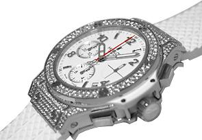 ウブロ 342.SE.230.RW.174 ビッグバン サンモリッツ ダイヤモンド クロノグラフ SS 白文字盤 自動巻き ラバー