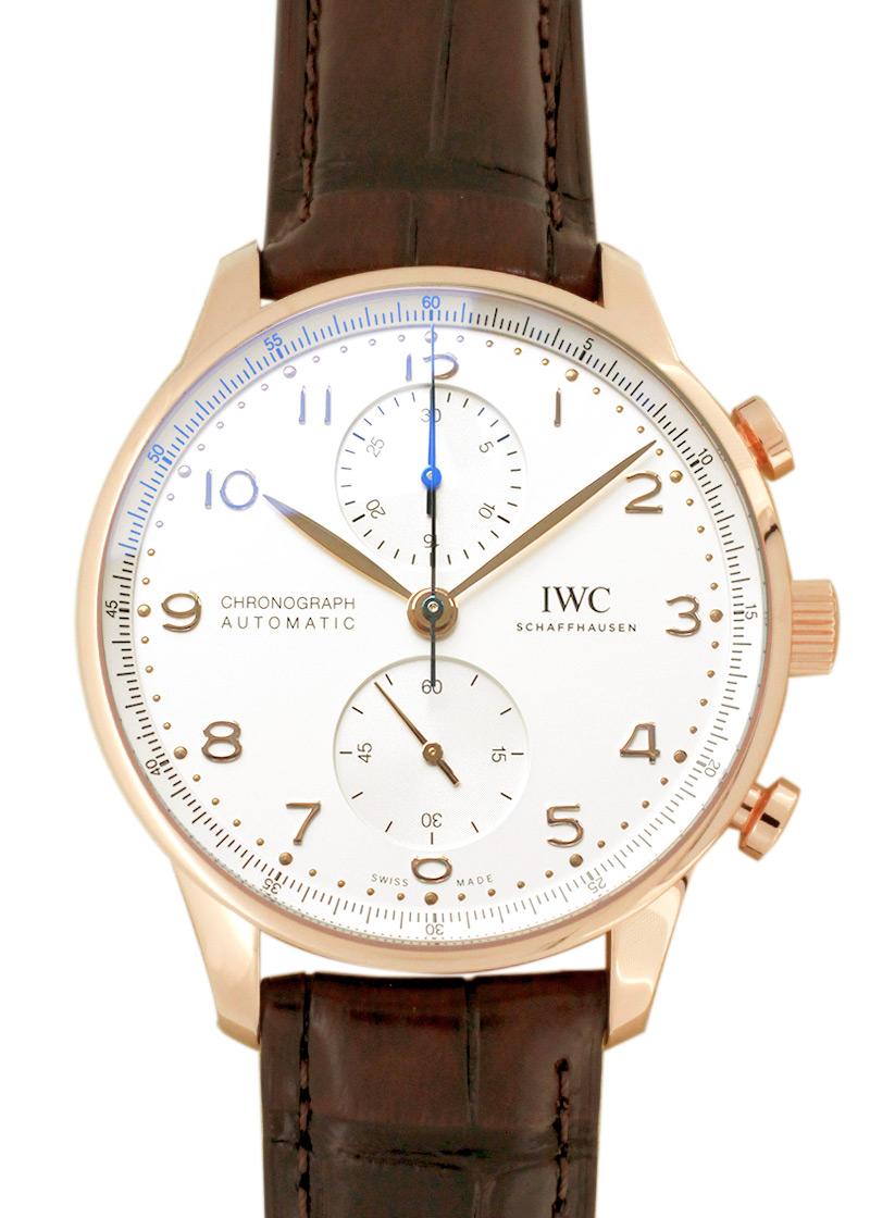 IWC IW371611 ポルトギーゼ クロノグラフ RG シルバー文字盤 自動巻き レザー
