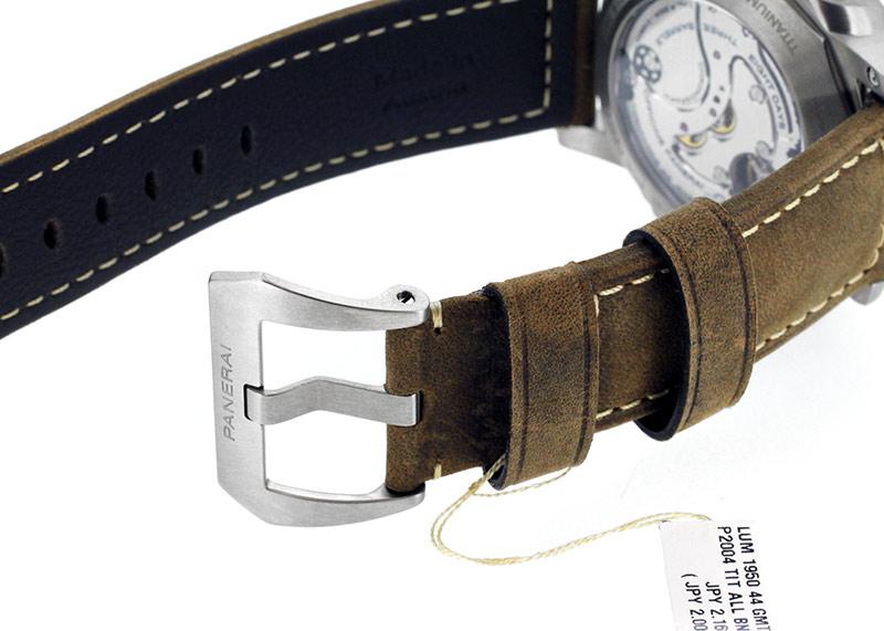 【未使用品】オフィチーネ パネライ PAM00311 ルミノール1950 クロノモノプルサンテ 8デイズ GMT チタニオ TI 黒文字盤 手巻き レザー【生産終了品】